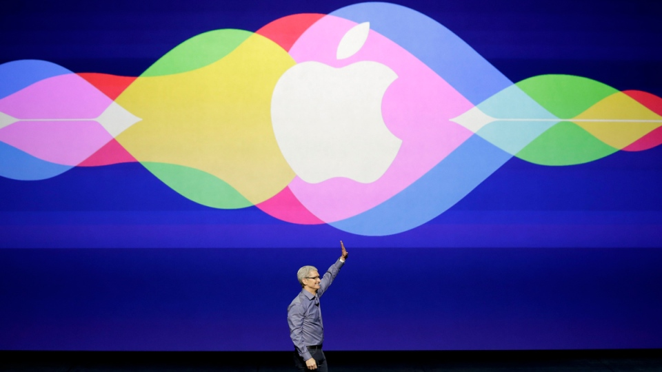 Apple CEO Tim Cook at the Bill Graham Civic Auditorium in San Francisco, on Sept. 9, 2015. (Eric Risberg / AP)