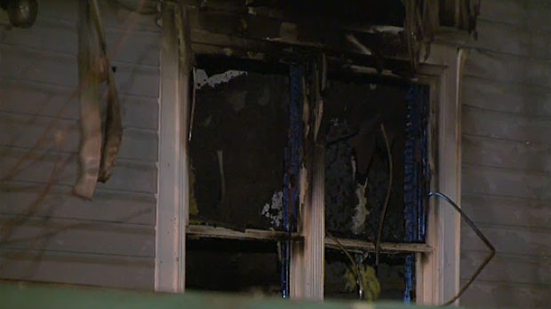 One home was destroyed and three others damaged in an early morning house fire. All the occupants got out safely.