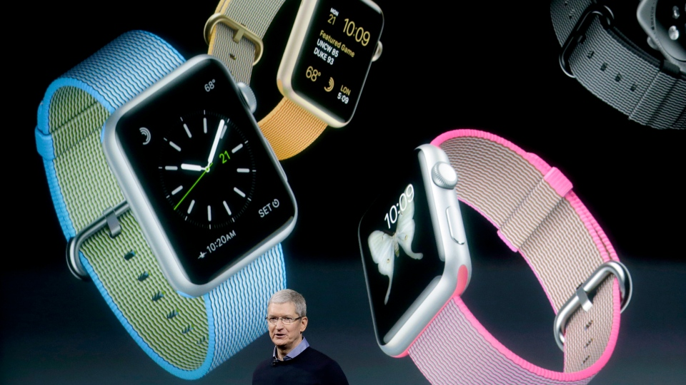 Apple CEO Tim Cook speaks at an event to announce new products and an update to the Apple Watch at Apple headquarters, Monday, March 21, 2016, in Cupertino, Calif. (AP / Marcio Jose Sanchez)