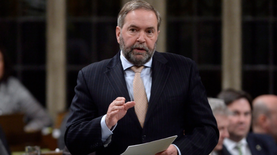 NDP Leader Tom Mulcair asks a question during in Parliament, in Ottawa, on Monday, March 21, 2016. (THE CANADIAN PRESS/Adrian Wyld)