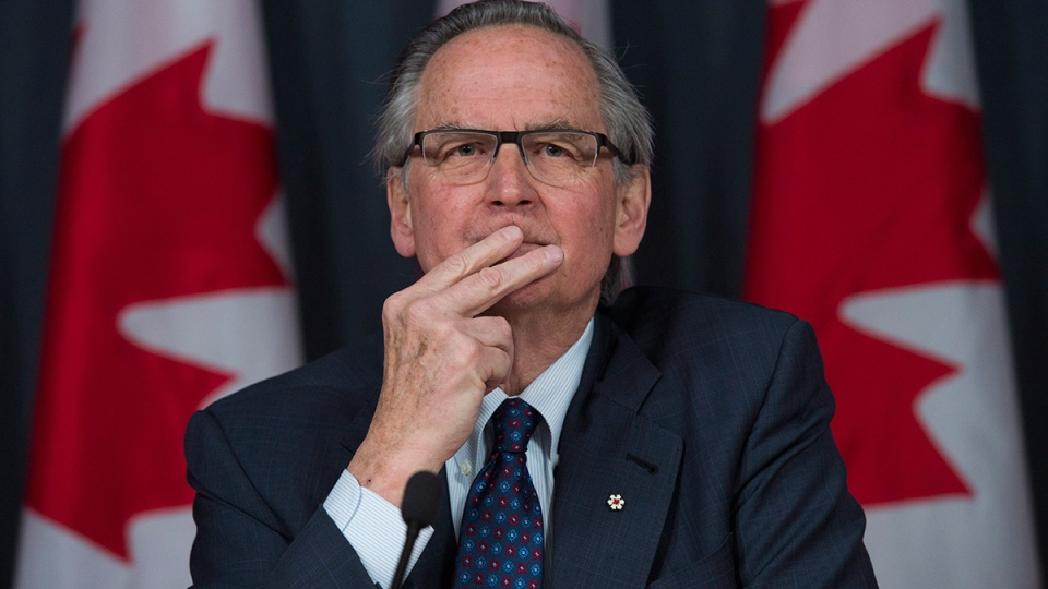 Ian Binnie, special arbitrator for the Senate dispute resolution process, speaks during a news conference in Ottawa, Monday, March 21, 2016. (Adrian Wyld / THE CANADIAN PRESS)