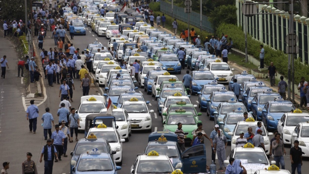Taxis protest in Jakarta