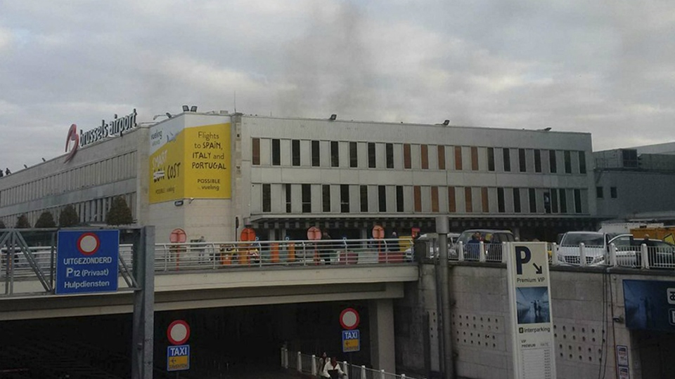 In this image provided by Daniela Schwarzer, smoke is seen at Brussels airport in Brussels, Belgium, after explosions were heard on Tuesday, March 22, 2016. (AP)