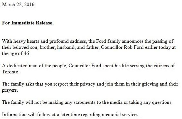 Statement on Rob Ford's death