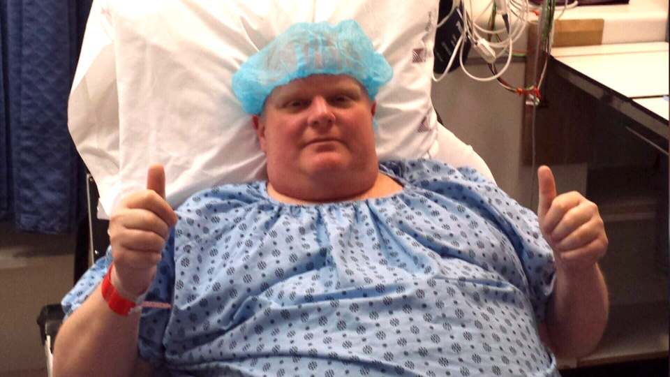 Rob Ford is shown in his hospital bed before undergoing surgery to remove a cancerous tumour on Monday morning. (Dan Jacobs)