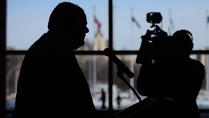 Toronto Mayor Rob Ford holds a press conference in Ottawa on February 26, 2014. (Sean Kilpatrick / THE CANADIAN PRESS)