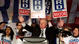 Toronto mayor Rob Ford at his campaign launch in Toronto on April 17, 2014. (Nathan Denette / THE CANADIAN PRESS)
