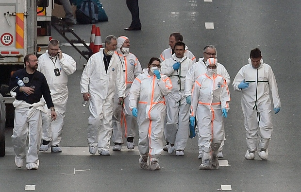 Forensic staff at Maelbeek metro station