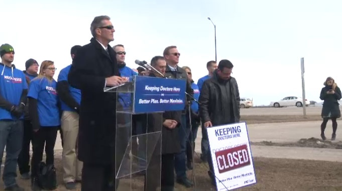 Manitoba PC Leader Brian Pallister speaks at a media event in Selkirk, Man. on March 22, 2016.