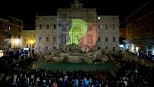 Belgian flag on Trevi Fountain