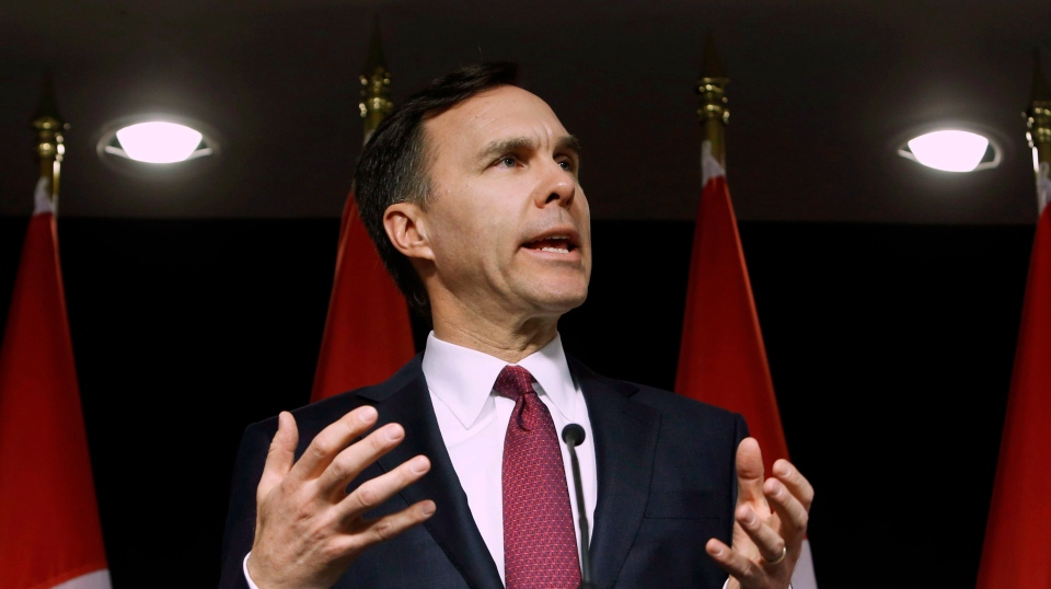 Finance Minister Bill Morneau holds a news conference before the release of his federal budget in Ottawa on March 22, 2016. (The Canadian Press/Fred Chartrand)