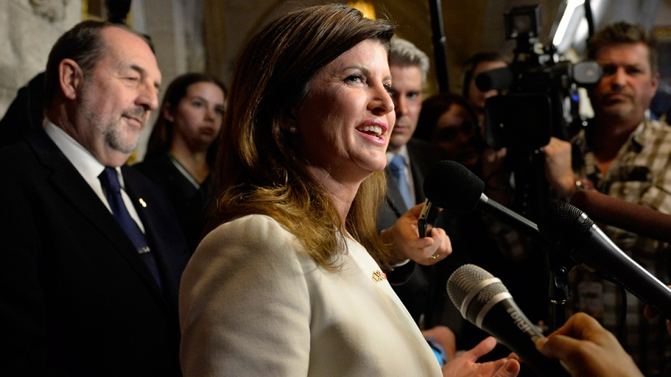 Conservative Party interim leader Rona Ambrose speaks to reporters about the federal budget on Parliament Hill, in Ottawa, Tuesday, March 22, 2016. (Justin Tang / THE CANADIAN PRESS)