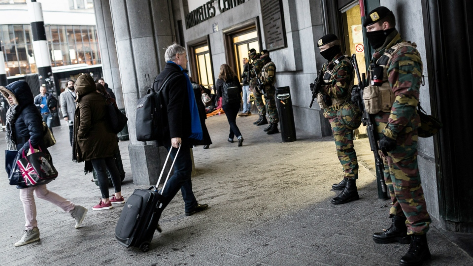 Belgian Army soldiers patrol outside Central Station in Brussels on Wednesday, March 23, 2016. (AP / Valentin Bianchi)