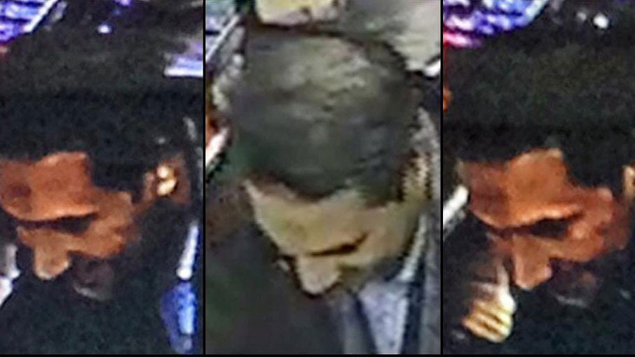 In this image provided by the Belgian Federal Police on Monday, March 21, 2016, a combo photograph shows Najim Laachraoui, who was previously identified in a false passport as Soufiane Kayal by Belgium Federal Police, during a money transfer on Nov. 17, 2015 in a Western Union bank in the Brussels region of Belgium. (Belgian Federal Police via AP)