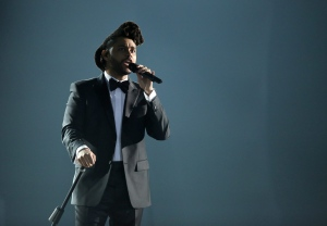 The Weeknd performs at the 58th annual Grammy Awards on Monday, Feb. 15, 2016, in Los Angeles. (Matt Sayles/Invision/AP)