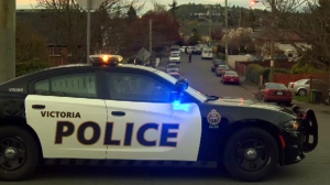 A Victoria police cruiser is pictured at the 1400-block of Edgeware Road: March 22, 2016. (CTV News)