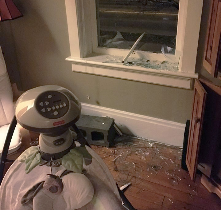 A cinder block was thrown through the window of a home on Albert Street in Waterloo on Wednesday, March 23, 2016. (MacGregor Albert Community Association / Facebook)