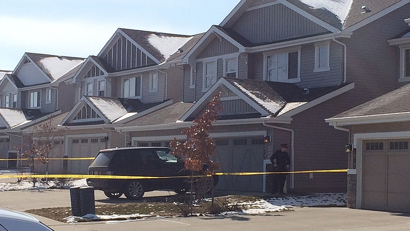 EPS roped off a home in the area of 49 Ave. and 213 St. on Wednesday, March 23, as detectives investigated a suspicious death inside.