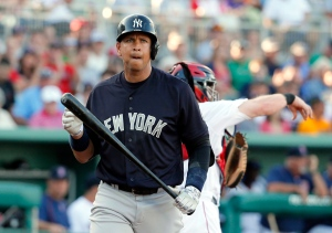 New York Yankees' Alex Rodriguez walks back to the dugout after striking out against Boston Red Sox's David Price in the first inning of a spring training baseball game on March 15, 2016, in Fort Myers, Fla. (Tony Gutierrez / AP Photo)