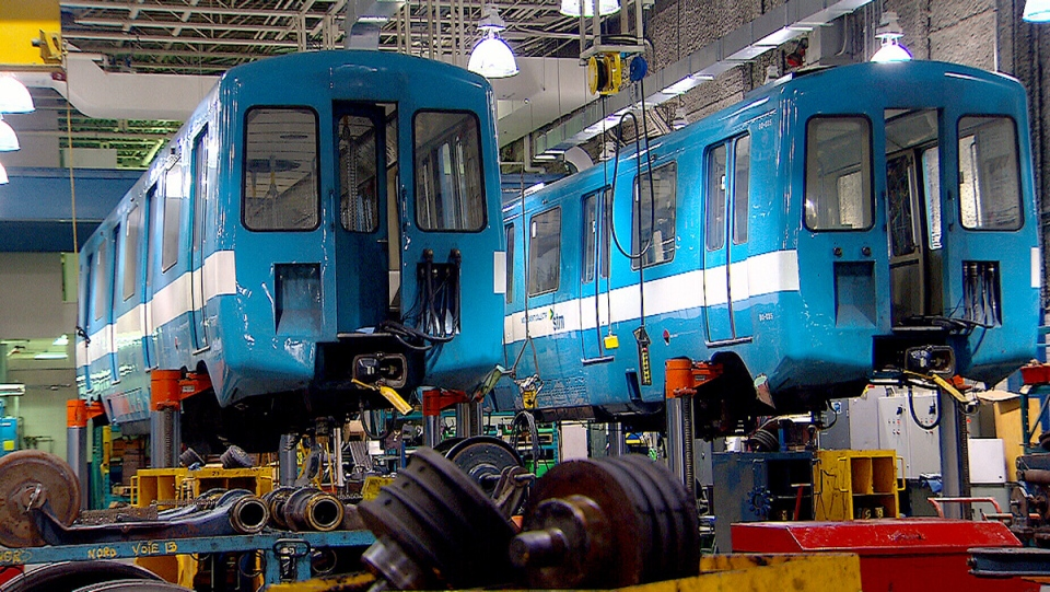 Two MR-63 train cars from the Montreal Metro are shown in this undated image.