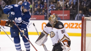 Toronto Maple Leafs centre Nazem Kadri spins in on Anaheim Ducks goaltender Frederik Andersen on his way to scoring the game winning goal during overtime NHL action in Toronto on Thursday, March 24, 2016. (Frank Gunn / THE CANADIAN PRESS)