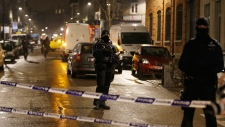 Police take up positions in Brussels, Belgium