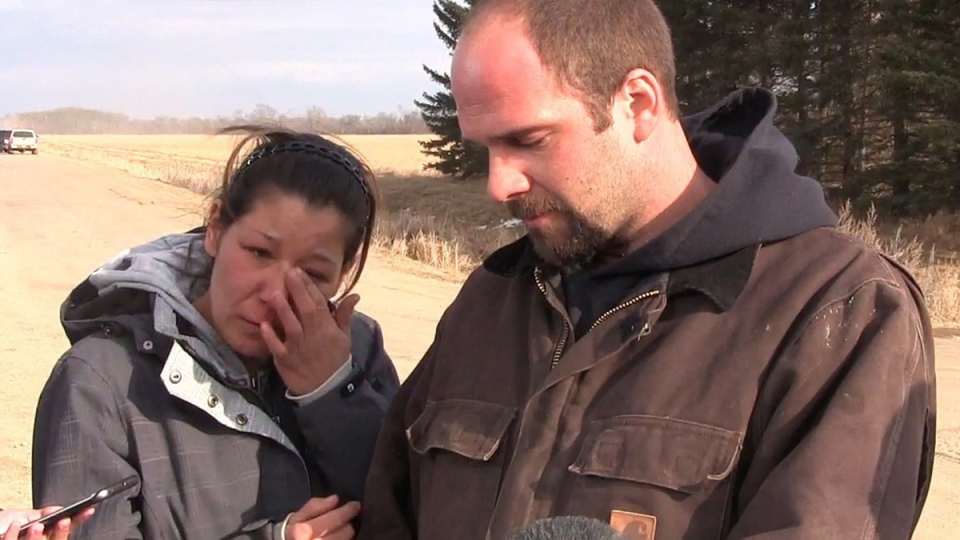 Thomas Martens and Destiny Turner shown in this still image taken from video, make a brief appearance outside their home near Austin, Man. on Thursday March 24, 2016. (THE CANADIAN PRESS)