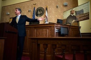 U.S. Senator Joe Manchin speaks during a public town hall meeting on President Barack Obama's nomination of Merrick Garland to the U.S. Supreme Court in the Ceremonial Courtroom of the W. Kent Carper Justice & Public Safety Complex in Charleston, WV on Thursday March 24, 2016. (Christian Randolph /Charleston Gazette-Mail)