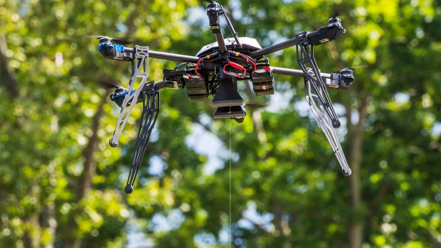 A Flirtey drone delivers supplies