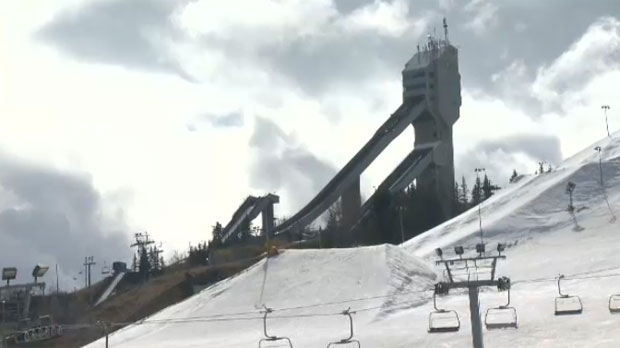 Remnants of the 1988 Winter Olympic Games, the ski jump towers at WinSport's Canada Olympic Park