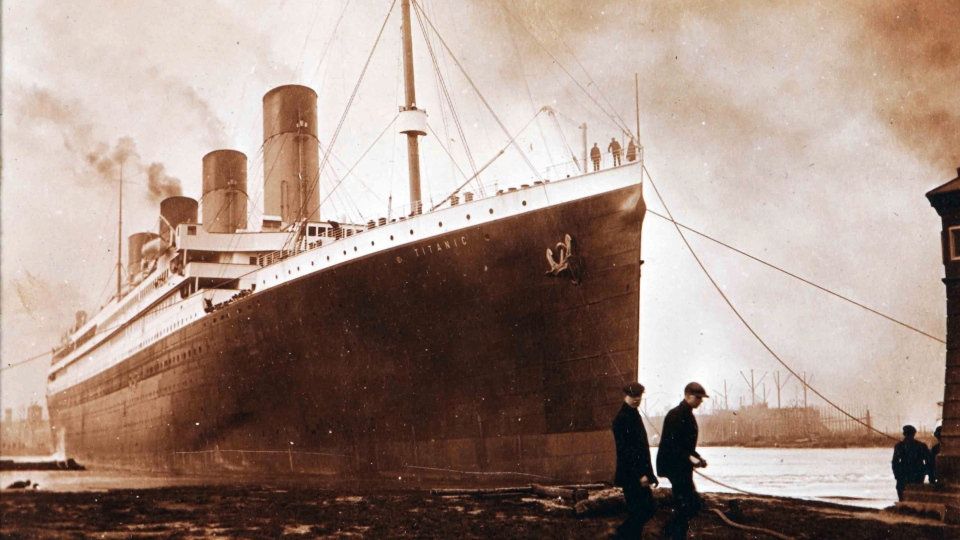 A dark, diagonal mark about 30 feet long is seen on the ocean liner's starboard side in this photo. Senan Molony says it's evidence of a massive coal bunker fire within.  (THE CANADIAN PRESS/AP /Ulster Folk & Transport Museum)