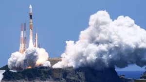 A Japanese rocket H-2A carrying an earth observation satellite is launched from the Tanegashima Space Center in southern Japan on Saturday, May 24, 2014. (Kyodo News)