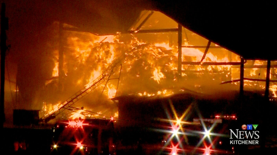 A fire in Maryhill, Ontario killed 44 cows and caused an estimated $500,000 of damages.