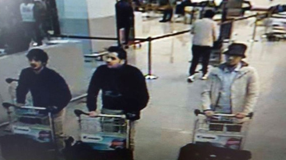 Three men who are suspected of taking part in the attacks at Belgium's Zaventem Airport. (Belgian Federal Police via AP)