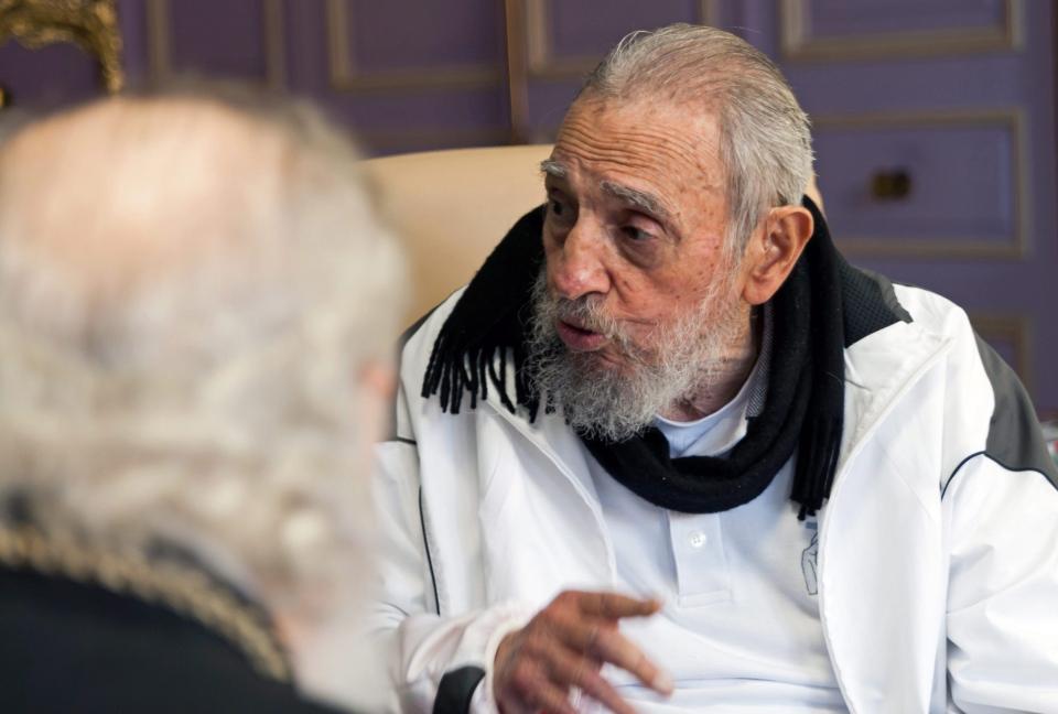 Fidel Castro meets Russian Orthodox Patriarch Kirill, left, in Havana, Cuba, Saturday, Feb. 13, 2016.(AP Photo/Alex Castro)
