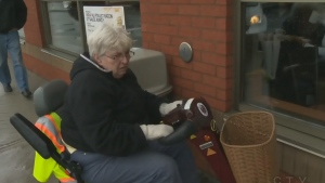 Sharon Linehan says a Tim Hortons manager called her electric scooter a 'fire hazard' and asked her to leave the store.