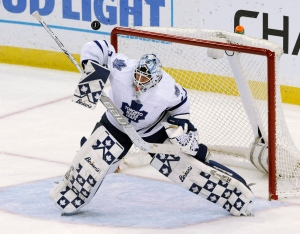 Toronto Maple Leafs goalie Garret Sparks deflects a shot during the first period of an NHL hockey game against the Tampa Bay Lightning on March 28, 2016, in Tampa, Fla. (Steve Nesius / AP Photo)
