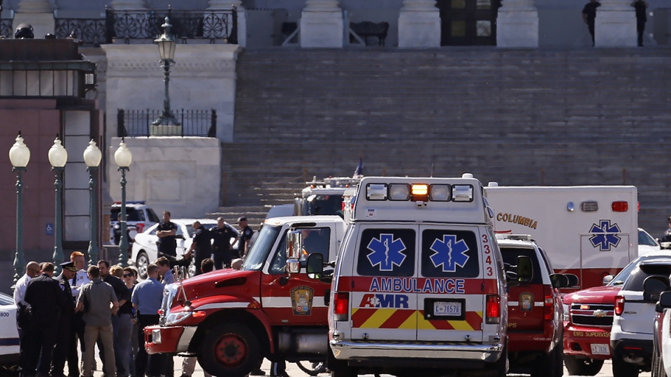 Law Enforcement and rescue vehicles are seen on Capitol Hill in Washington, Monday, March 28, 2016. (AP / Alex Brandon)