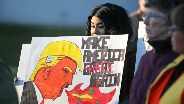 Wisconsin residents protest Trump