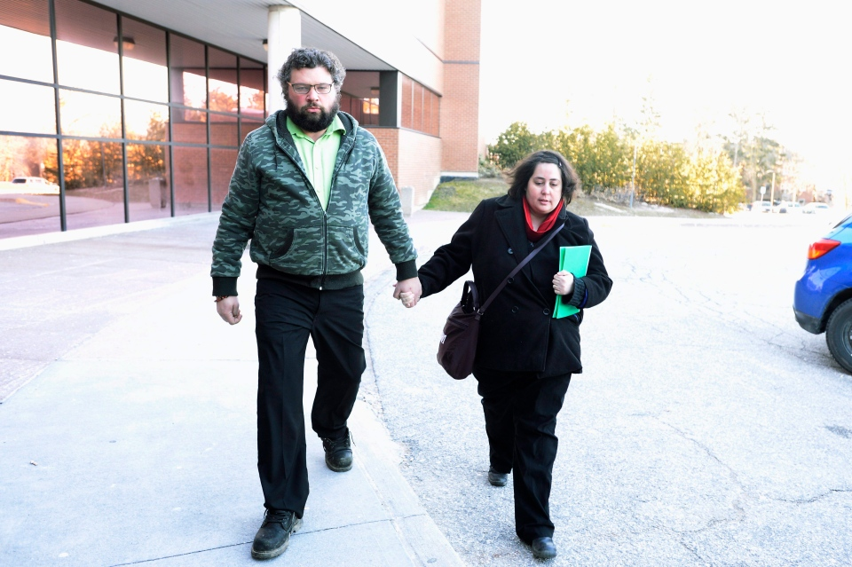 Jennifer Neville-Lake and Edward Lake arrive at the courthouse in Newmarket, Ont., Tuesday, March 29, 2016. (Nathan Denette / THE CANADIAN PRESS)