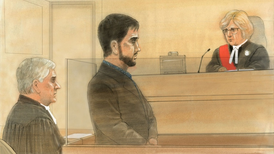 Marco Muzzo is seen in this court sketch at his sentencing hearing in Newmarket, Ont., Tuesday, March 29, 2016. (John Mantha)