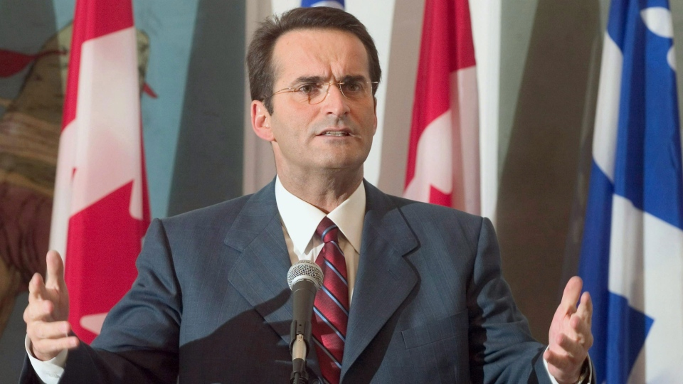 Jean Lapierre makes a point as he announces he will run for the Liberal party nomination in the Montreal riding of Outremont, Thursday, Feb 5, 2004 in Montreal. (The Canadian Press/Paul Chiasson)