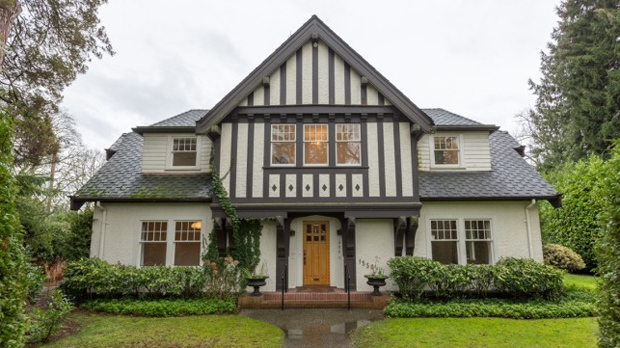 "This beautiful 4,592 square-foot , five-bedroom, five-bathroom heritage home in Vancouver's prestigious Shaughnessy neighbourhood was just listed for $7.38-million. The English Tudor home, with an indoor pool and private garden, seems like a keeper, but its days may be numbered – the current owner has applied for a development permit so the incoming buyer can build their ""dream home."" The historic mansion is currently surrounded by orange tape. (Photos: Faith Wilson Group)."
