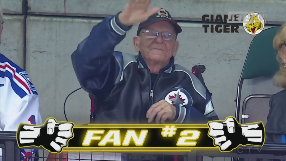 Len 'Kroppy' Kropioski is shown in this file photo from March, waving to the crowd at the MTS Centre in Winnipeg during a Jets game.