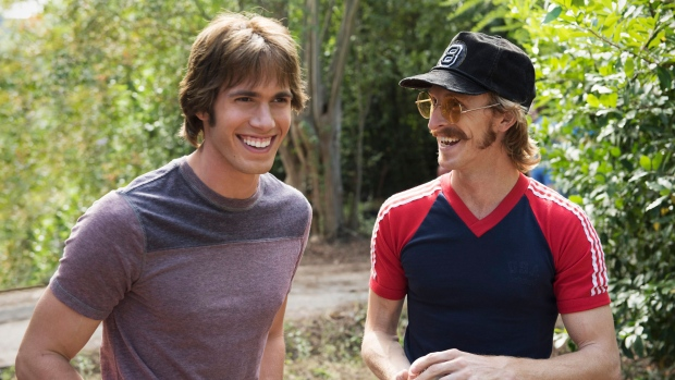 This image released by Paramount Pictures shows Blake Jenner, left, and Austin Amelio in 'Everybody Wants Some.' (Van Redin/Paramount Pictures and Annapurna Pictures via AP)