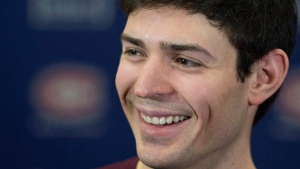 In this file photo, Montreal Canadiens goaltender Carey Price speaks to the media following a work out in full equipment at the team's practice facility in Brossard, Que., Thursday, March 3, 2016. (THE CANADIAN PRESS / Graham Hughes)