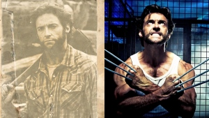 James 'Logan' Howlett is shown in this 'archive' photo released by Library and Archives Canada, on Apr. 1, 2016 (left), along side a photo of Hugh Jackman from the film 'Wolverine,' released by 20th Century Fox.