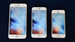 In this Thursday, March 24, 2016, file photo, from left, the iPhone 6S Plus, 6S and SE lie next to each other in a comparison photograph, in New York.  (AP Photo / Julie Jacobson, File)