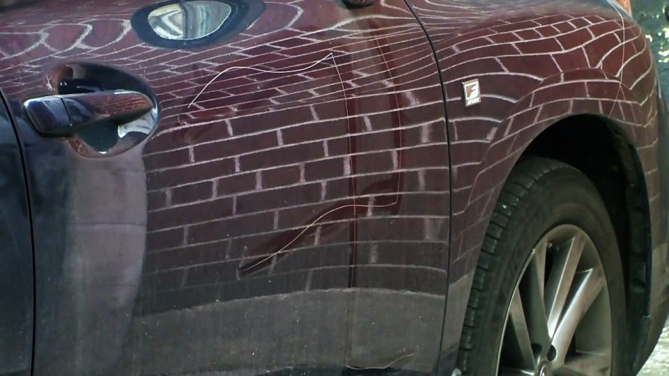 Swastika scratched in SUV