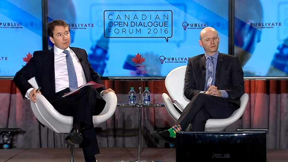 Treasury Board President Scott Brison, left, was among the invited speakers at the Canadian Open Dialogue Forum.